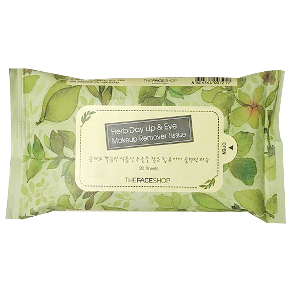 THE FACE SHOP Herb Day Lip&Eye Make Up Remover Tissue 30ea