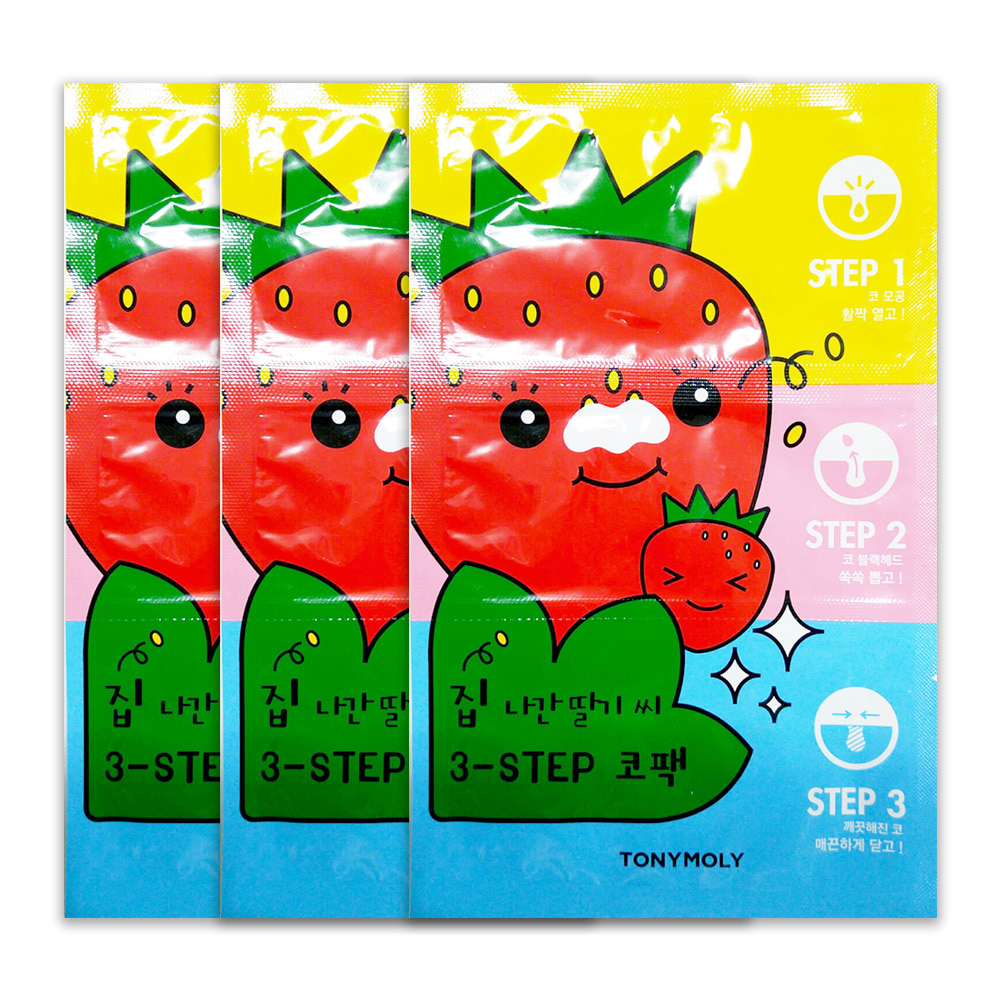 TONYMOLY Mr.Strawberry Seed 3-step Nose Pack 6g x 3pcs